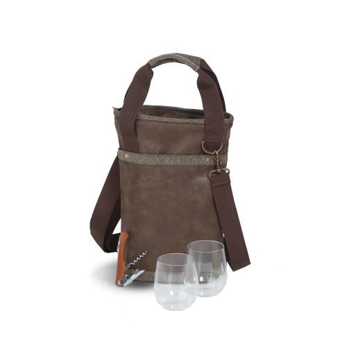 "14.5"" Dark Brown Insulated Single Bottle Wine Bag with Shoulder Strap - IMAGE 1"
