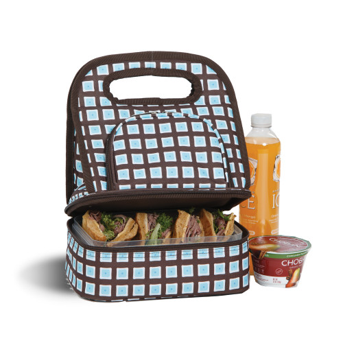 """12"""" Blue and Brown Savoy Lunch Bag - IMAGE 1"""