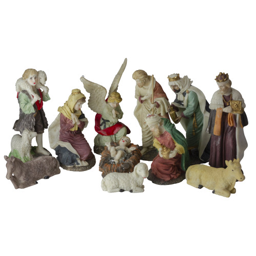 "Set of 11 Christmas Nativity Resin Figurines, 8"" - IMAGE 1"