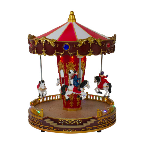 """11"""" Red and White LED Lighted and Animated Christmas Carousel with Horses - IMAGE 1"""