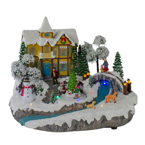 """15"""" LED Lighted Yellow Cottage Christmas River Scene with Music - Pre-Lit - IMAGE 1"""