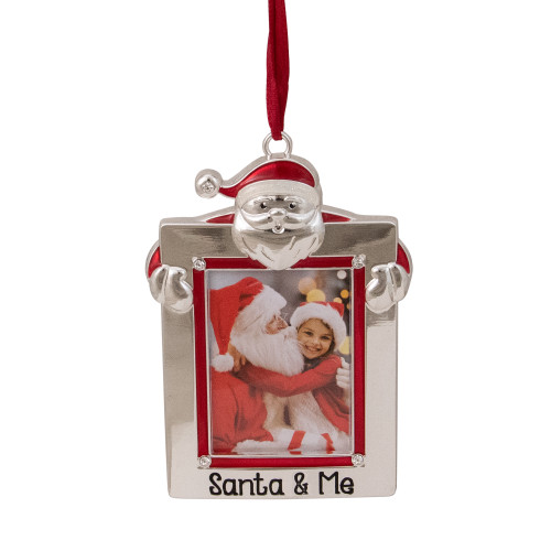 """3.5"""" Silver """"Santa and Me"""" Photo Frame Christmas Ornament with Crystals - IMAGE 1"""
