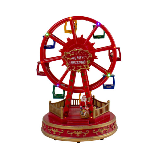 """11.25"""" Red and Gold LED Lighted and Musical Rotating Christmas Ferris Wheel - IMAGE 1"""