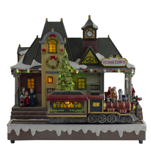 """13"""" Brown and Green LED lighted Christmas Village Tabletop Decor - IMAGE 1"""