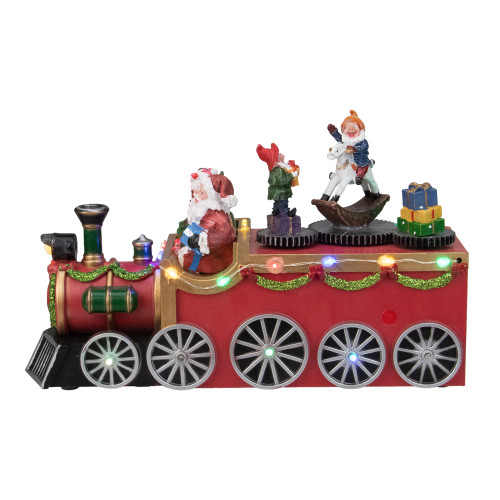 """10.25"""" Red and Black LED Lighted Musical Christmas Train with Santa - IMAGE 1"""