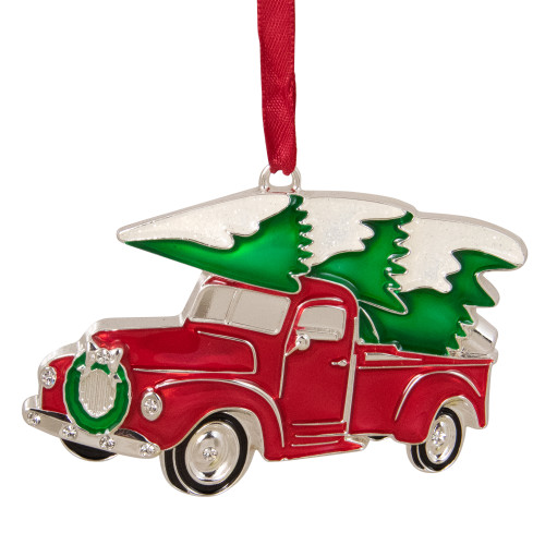 """3.5"""" Red and Silver Country Pick Up Truck with European Crystals Christmas Ornament - IMAGE 1"""