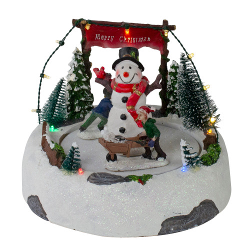 "8"" LED Lighted and Animated Christmas Village with Snowman - IMAGE 1"