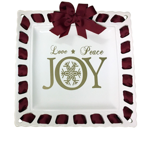 """12"""" White Square Ceramic Ribbon Plate with Cranberry Ribbon; Love, Peace, and Joy - IMAGE 1"""