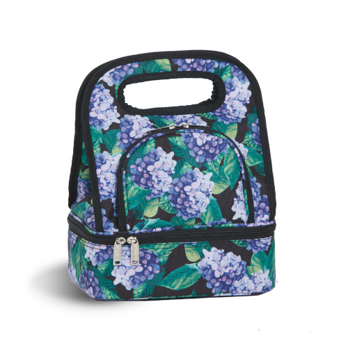 """12"""" Green and Purple Print Savoy Lunch Bag - IMAGE 1"""