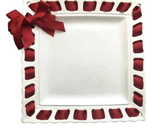 """12"""" White Square Ribbon Plate with Cranberry Ribbon - IMAGE 1"""
