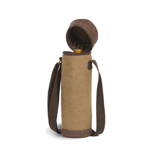 "14.5"" Brown Insulated Cotton Canvas Wine Bottle Tube Bag - IMAGE 1"