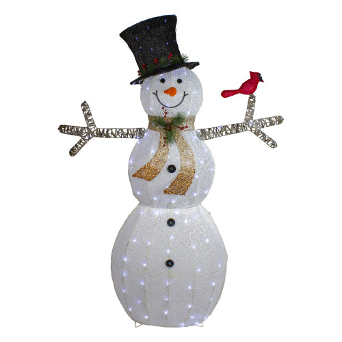 """72"""" White and Black LED Lighted Snowman with Top Hat Christmas Outdoor Decoration - IMAGE 1"""
