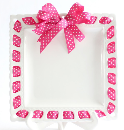 """12"""" Square White Ribbon Plate with Pink and White Polka-Dotted Ribbon - IMAGE 1"""