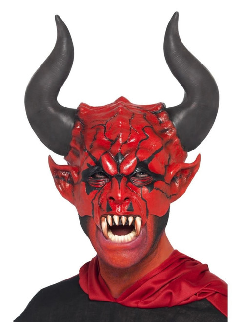 "30"" Red and Black Devil Lord Half Face Unisex Adult Mask Halloween Costume Accessory - One Size - IMAGE 1"