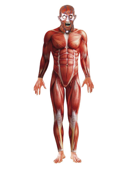 """49"""" Red Anatomy Bodysuit with Mask Men Adult Halloween Costume - Large - IMAGE 1"""