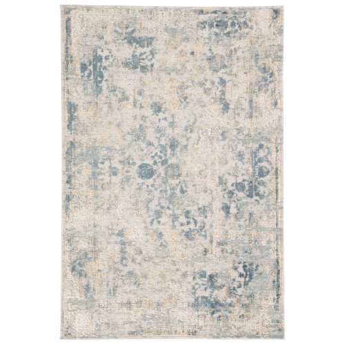 2' x 3' Gray and Blue Transitional Rectangular Area Throw Rug - IMAGE 1