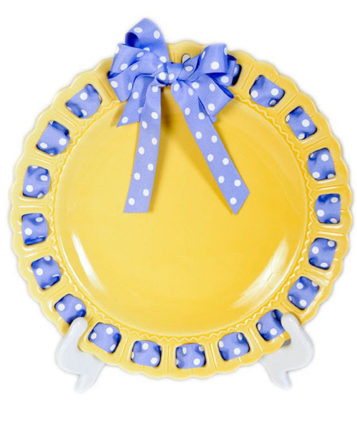 "12"" Round Yellow Ribbon Plate with Lavender and White Dotted Ribbon - IMAGE 1"