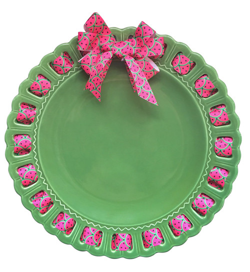 """12"""" Round Green Ceramic Ribbon Plate with Watermelon Ribbon - IMAGE 1"""