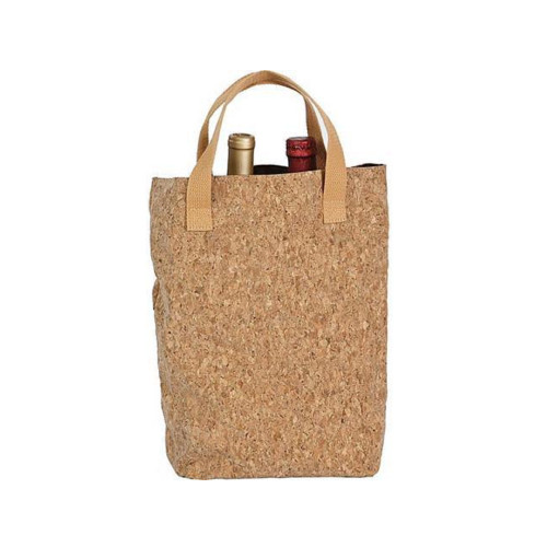 """14"""" Light Brown Double Bottle Cork Tote - IMAGE 1"""
