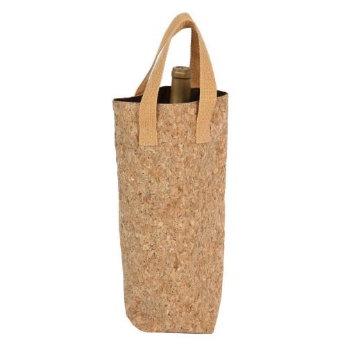 """14"""" Light Brown Cork Tote Single Bottle Bag - IMAGE 1"""