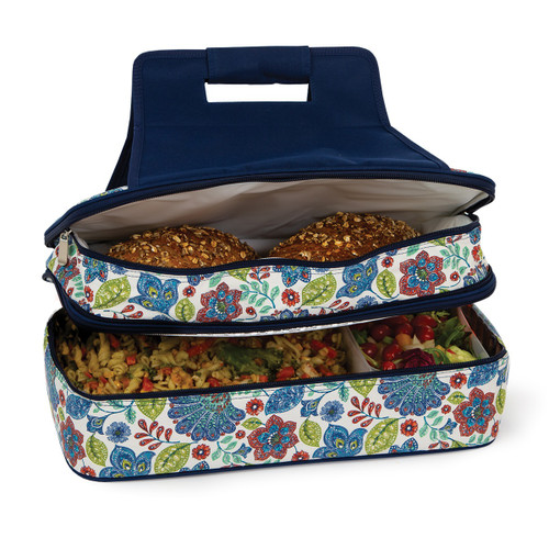 """18"""" Blue and White Floral Design Insulated Casserole Carrier - IMAGE 1"""