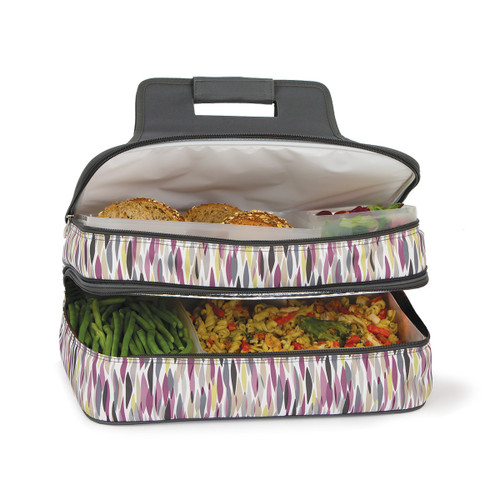 """18"""" Gray and White Brushstroke Design Insulated Casserole Carrier - IMAGE 1"""