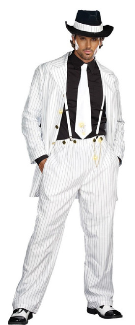 White and Black 1940's Style Striped Zoot Suit Men Adult 4pc Halloween Costume - Medium - IMAGE 1