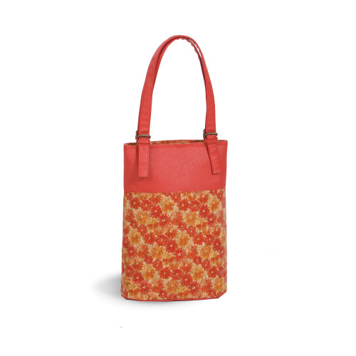 """18"""" Orange and Yellow Floral Design Insulated Double Bottle Wine Bag - IMAGE 1"""