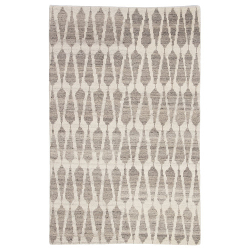 2' x 3' Ivory and Gray Geometric Hand Knotted Area Throw Rug - IMAGE 1