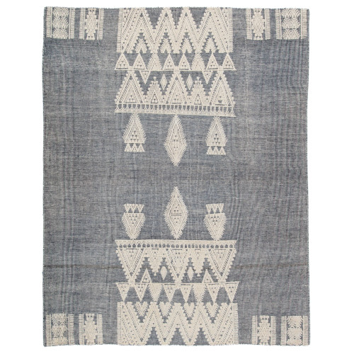 8' x 10' Gray and Beige Hand Knotted Torsby Rectangular Area Throw Rug - IMAGE 1