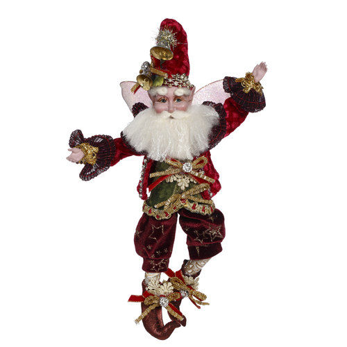 """Mark Roberts Burgundy and Green Wonderful Time Christmas Fairy - Small 10"""" - IMAGE 1"""