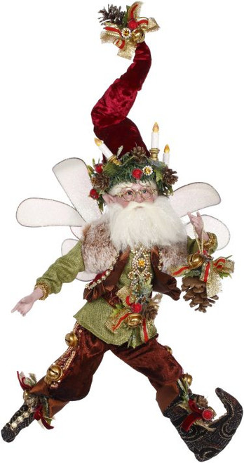 """21"""" Mark Roberts Burgundy and Green Holiday Pinecone Christmas Fairy Figure - IMAGE 1"""