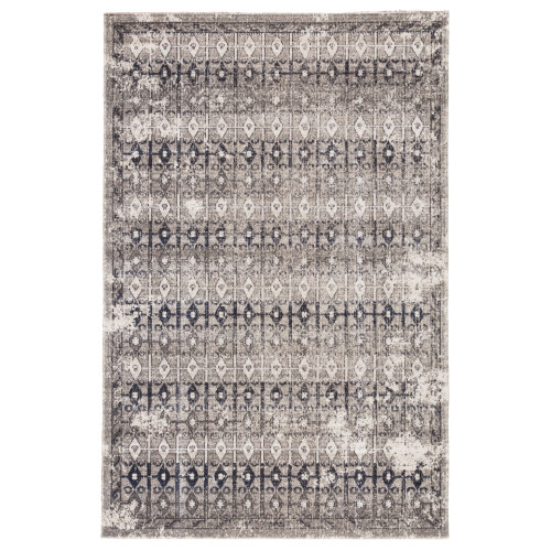 5.25' x 7.5' Gray and Ivory Trellis Outdoor Rectangular Area Throw Rug - IMAGE 1