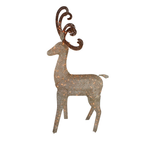 "66"" Champagne Gold Lighted Standing Deer with Jingle Bells Outdoor Christmas Decoration - IMAGE 1"