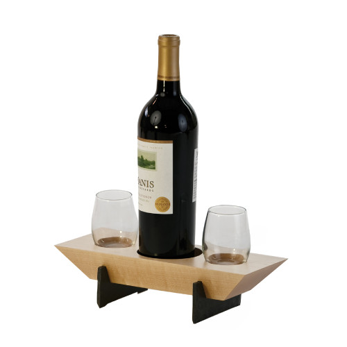 "Set of 3 Brown Maple Wood Village Wine Combo 11.5"" - IMAGE 1"