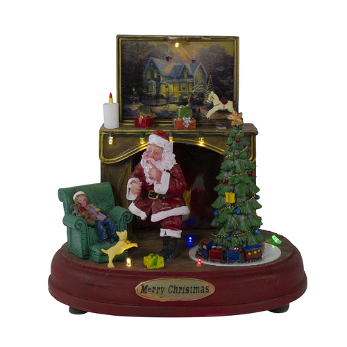 "8.5"" Brown and Green LED Animated Musical Santa Scene Christmas Tabletop Decoration - IMAGE 1"