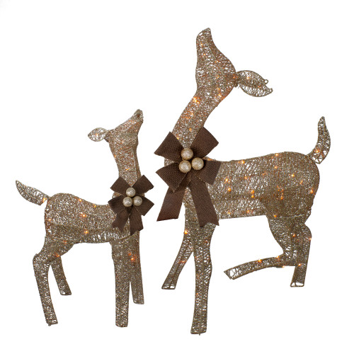 Set of 2 Brown Lighted Standing Doe and Fawn with Jingle Bells Outdoor Christmas Decorations - IMAGE 1