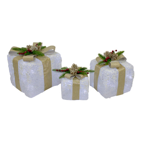 """3pc Clear and Gold Super Bright LED Lights Christmas Gift Boxes with Bows 10"""" - IMAGE 1"""