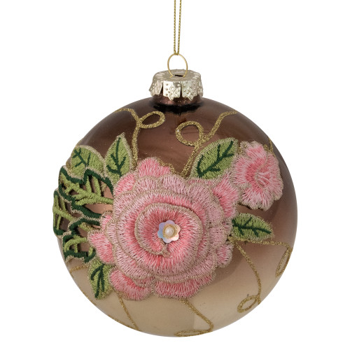 """2-Finish Brown and Pink Floral Applique Glass Christmas Ball Ornament 5"""" (125mm) - IMAGE 1"""