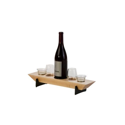 "Set of 5 Light Beige Maple Wood Village Wine & Votive Combo 17.75"" - IMAGE 1"