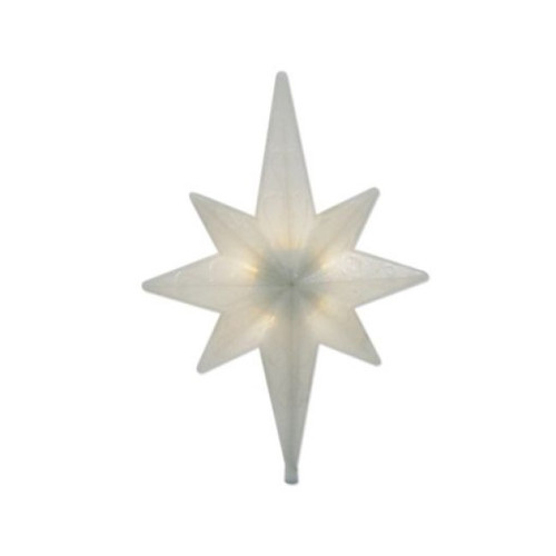 "14.5"" Warm White Winter Frost LED Bethlehem Star Christmas Tree Topper - Clear Lights - IMAGE 1"