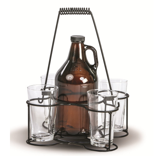 Set of 5 Black and Clear Cheers Growler Carrier - IMAGE 1