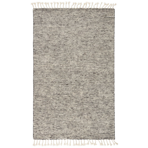 9' x 13' White and Gray Hand Knotted Rectangular Area Throw Rug - IMAGE 1