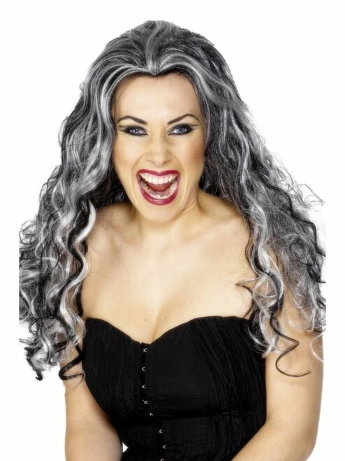 """26"""" Black and White Renaissance Vamp Curly Women Adult Halloween Wig Costume Accessory - One Size - IMAGE 1"""