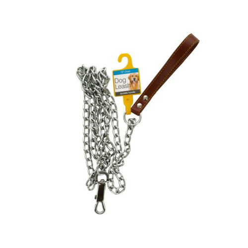 """Pack of 4 Silver and Brown Chain Dog Leash with Durable Handle 72"""" - IMAGE 1"""
