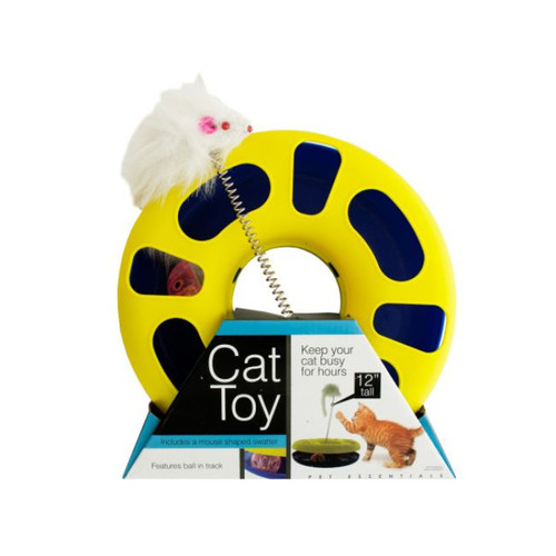 """9.5"""" Yellow and White Round Cat Toy with Mouse Swatter - IMAGE 1"""