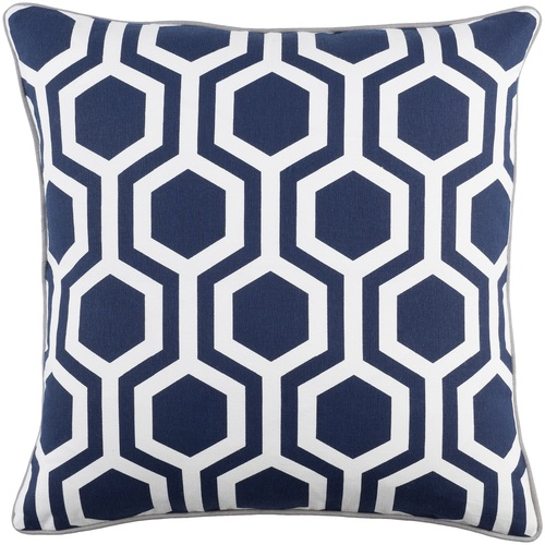 """18"""" Blue and White Hexagonal Pattern Square Woven Throw Pillow - Down Filler - IMAGE 1"""