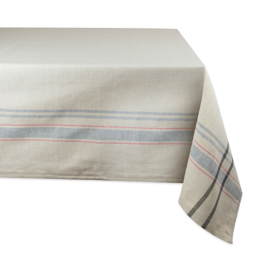 """Neutral Taupe and Gray French Striped Pattern Rectangular Tablecloth 60"""" x 84"""" - IMAGE 1"""