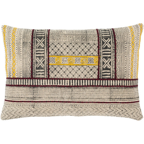 """24"""" Beige and Yellow Rectangular Hand Woven Throw Pillow Cover with Knife Edge - Polyester Filler - IMAGE 1"""