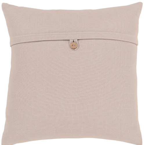 """18"""" Beige Solid Woven Square Throw Pillow Cover with Knife Edge - IMAGE 1"""